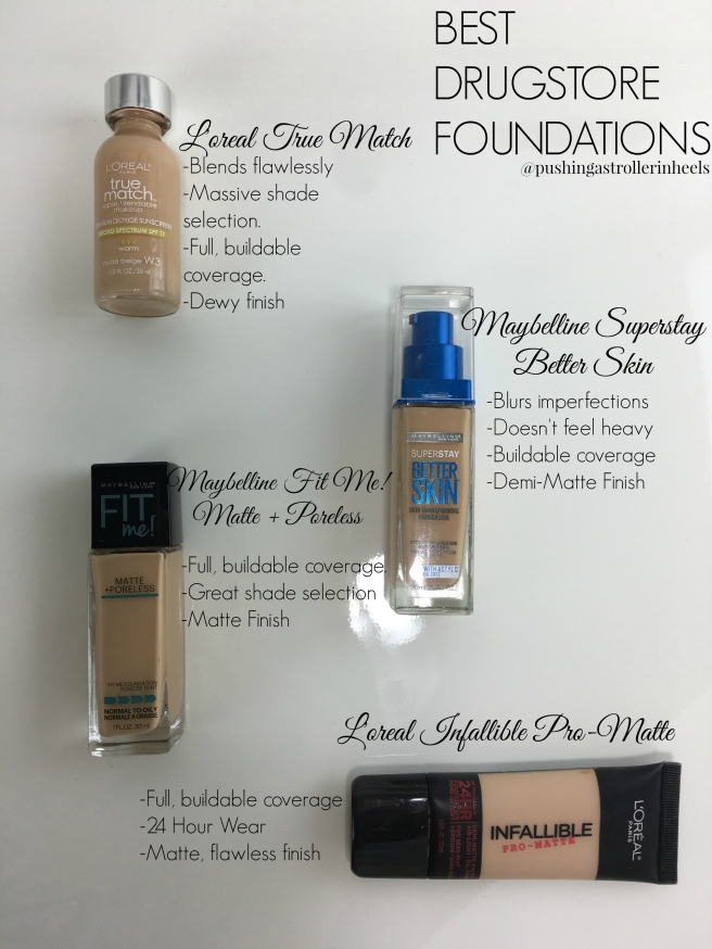 drugstore foundations with text